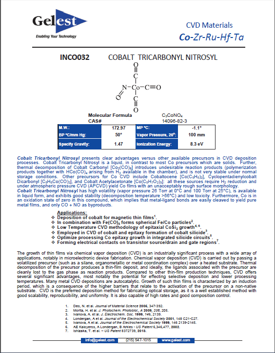 CVD Materials (Co, Zr, Ru, Hf, Ta)